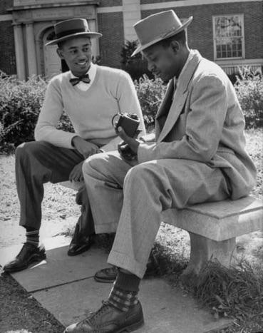 Clark Atlanta 2 men sitting on bench